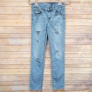 AEO Women's Size 2 R Distressed Straight Jeans
